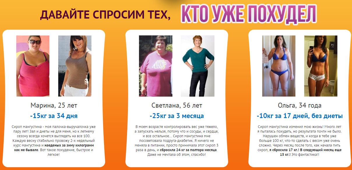 Отзывы реальных покупателей о сиропе для похудения Mangosteen